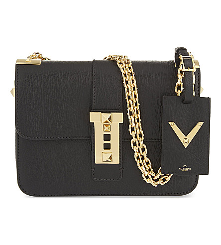 VALENTINO B-Rockstud medium leather shoulder bag (Blk