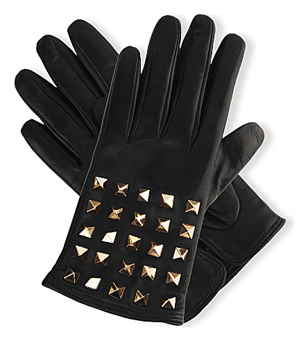 VALENTINO Studded leather gloves (Blk
