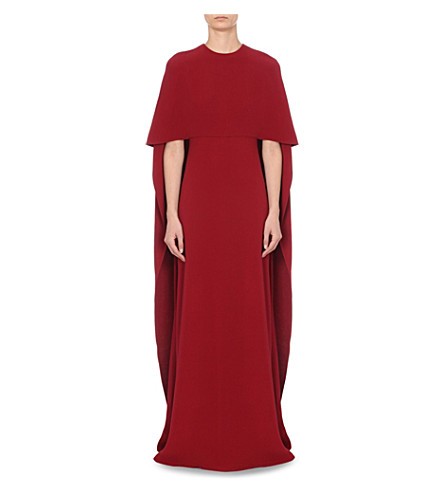 VALENTINO Cape-detail silk-crepe gown (Burgundy