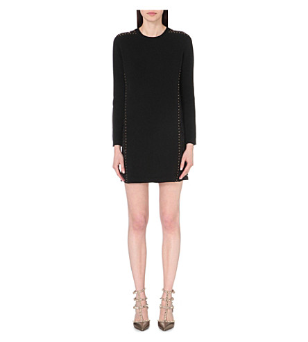 VALENTINO Studded wool and cashmere-blend dress (Blk