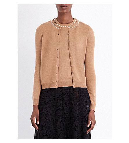 VALENTINO Rockstud Untitled cashmere top and cardigan twin set (Camel