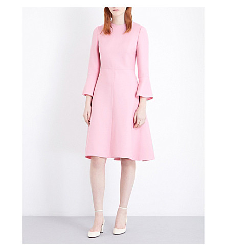 VALENTINO Bell-sleeve wool and silk-blend dress (Pink