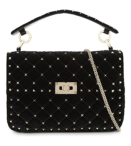 VALENTINO Rockstud velvet cross-body bag (Blk