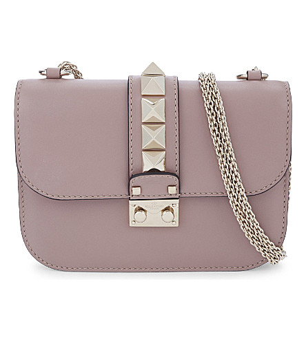 VALENTINO Rockstud leather cross-body bag (Poudre