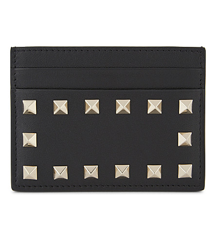 VALENTINO Rockstuds leather card holder (Blk