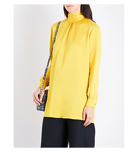 VALENTINO High-neck loose crepe top (Canary