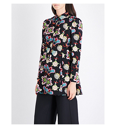 VALENTINO Graphic floral-print wool tunic (Big+pop+flower