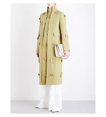 VALENTINO Floral appliqué wool-felt coat (Narciso