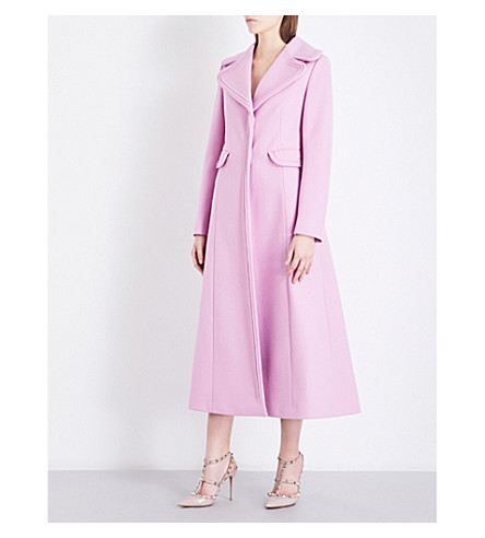 VALENTINO Single-breasted wool-felt coat (Cherry+blossom
