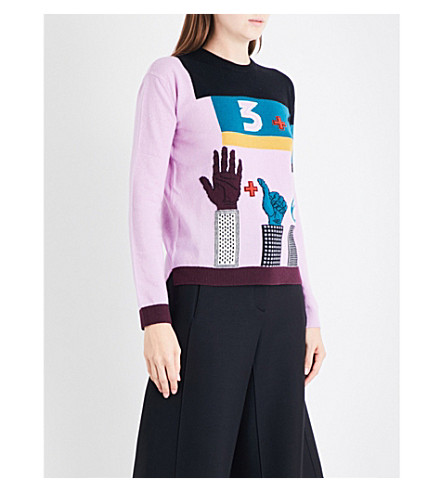 VALENTINO Hand-intarsia wool and cashmere-blend jumper (Cherry+blossom