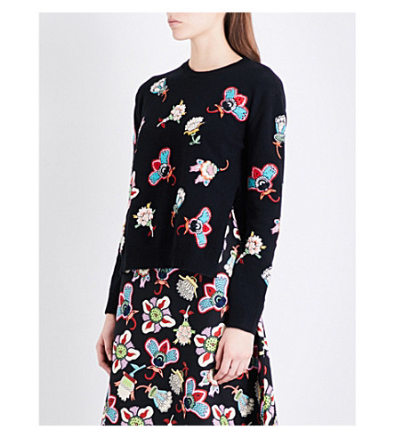 VALENTINO Floral-embroidered wool jumper (Black