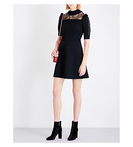VALENTINO Lace-detailed knitted dress (Black