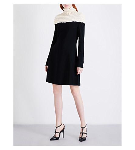 VALENTINO High-neck knitted dress (Nero/ecru
