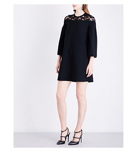VALENTINO Floral-lace knitted mini dress (Black