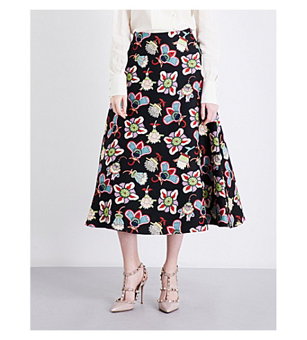 VALENTINO Floral-print wool and silk-blend skirt (Big+pop+flower