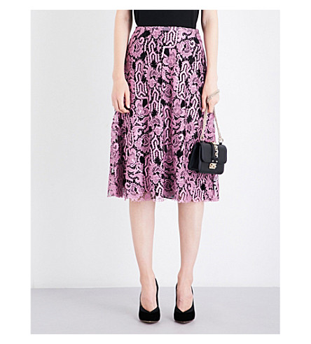 VALENTINO Floral mid-rise lace-lamé skirt (Cherry+blossom