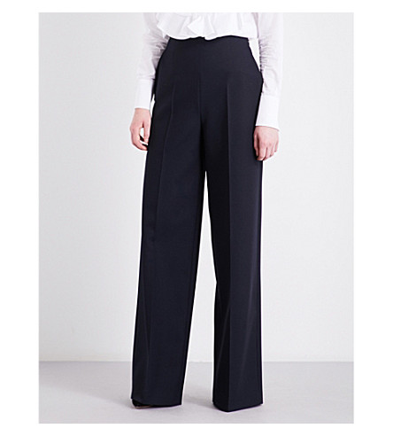 VALENTINO Wide-leg virgin wool trousers (Navy