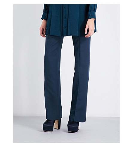 VALENTINO Bow-detail straight wool and silk-blend trousers (Deep+sea