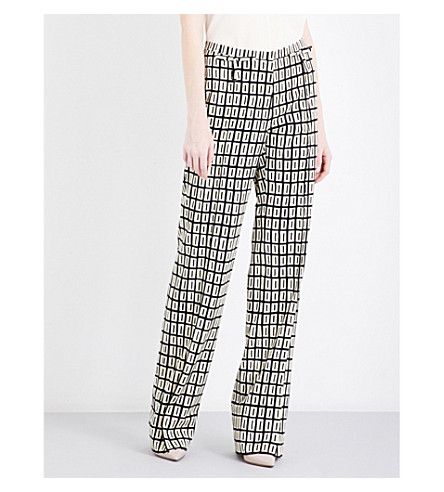 VALENTINO Abstract wave-print wide mid-rise wool trousers (Graphic+ribbons