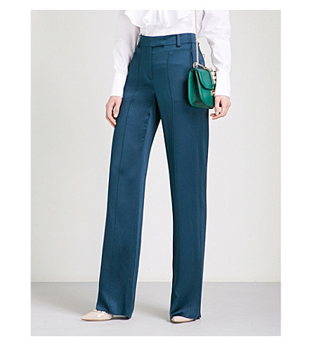 VALENTINO Wide-leg hammered-satin trousers (Deep+sea
