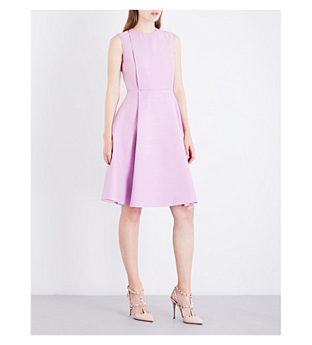 VALENTINO Box-pleat fit-and-flare wool and silk-blend dress (Cherry+blossom