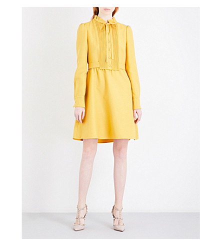 VALENTINO Pleated-panel self-tie wool and silk-blend mini dress (Canary