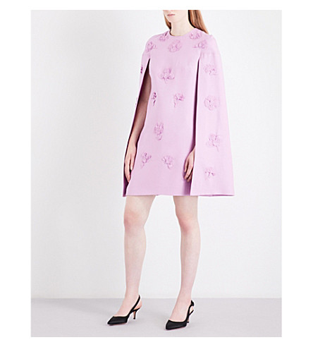 VALENTINO Floral appliqué wool and silk-blend mini dress (Cherry+blossom