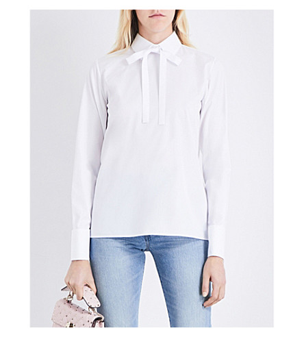 VALENTINO Bow-detail cotton-poplin shirt (White