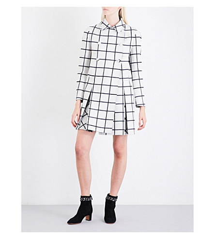VALENTINO Check-pattern double-breasted wool coat (Ivory/black+check