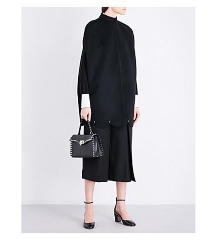 VALENTINO Scalloped wool and cashmere-blend cape (Black