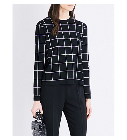 VALENTINO Check-print knitted sweater (Black/ivory+check