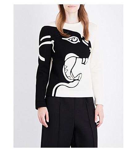 VALENTINO Panther-jacquard jersey sweatshirt (Ivory/black