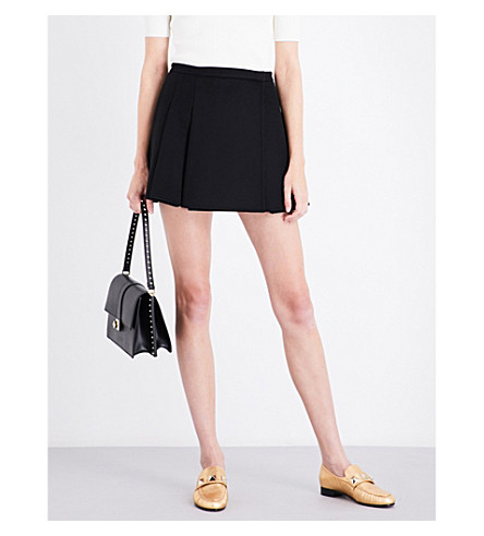 VALENTINO Pleated wool and cashmere-blend mini skirt (Black