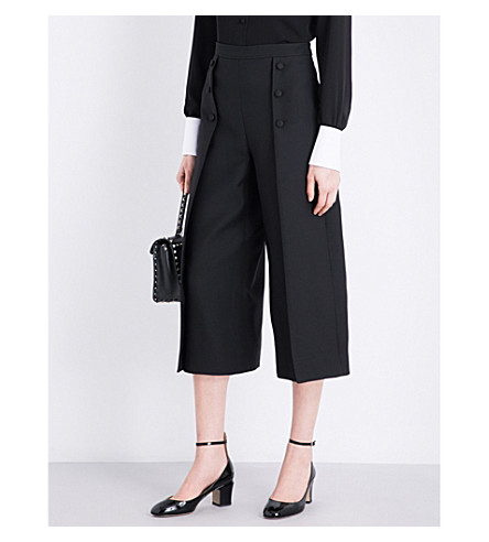 VALENTINO Cropped mid-rise wool and silk-blend trousers (Black