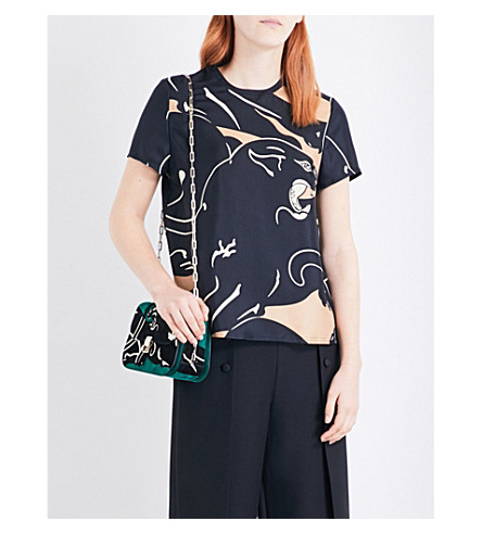 VALENTINO Panther-print silk-twill top (Ivory/camel/black