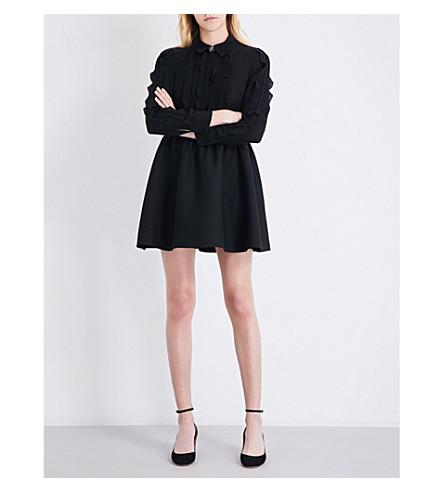 VALENTINO Ruffled silk-crepe and wool and silk-blend mini dress (Black