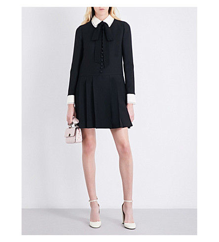 VALENTINO Bow-detail wool and silk-blend mini dress (Black/ivory