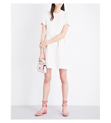 VALENTINO Scalloped wool and silk-blend dress (Ivory