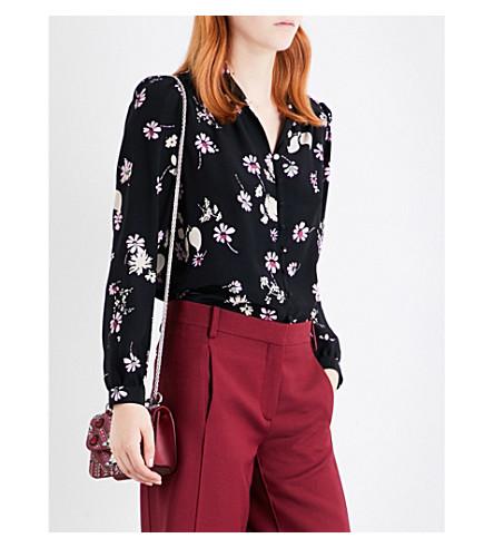 VALENTINO Floral-print silk shirt (Black