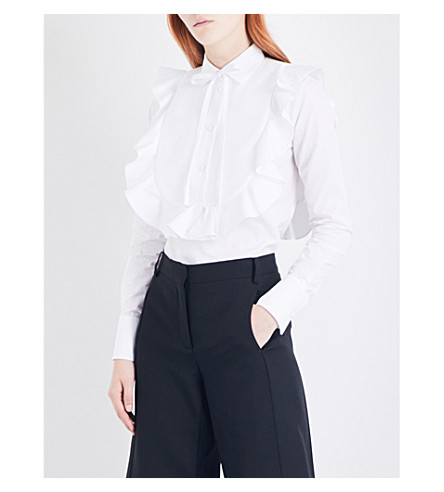 VALENTINO Ruffled bib-panel cotton-poplin shirt (White