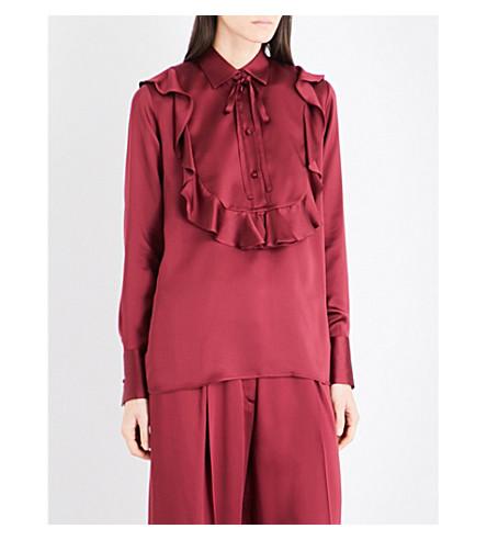 VALENTINO Ruffled silk-charmeuse shirt (Cassis