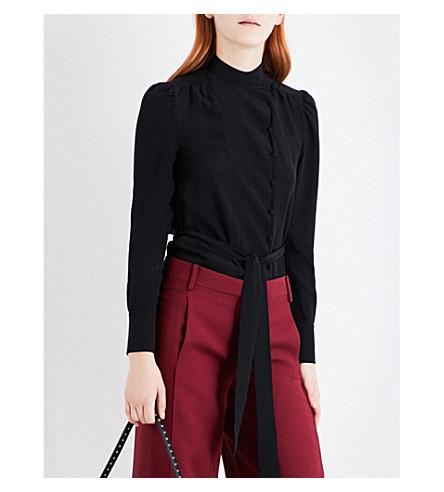 VALENTINO Waist-tie long-sleeved silk top (Black