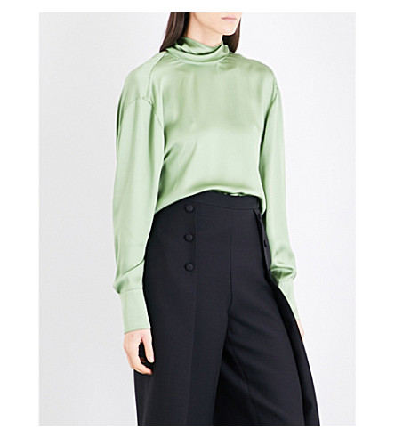 VALENTINO Open cowl-back silk-charmeuse top (Lemon+grass/green
