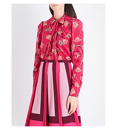 VALENTINO Lotus-print bow-collar silk-crepe shirt (Raspberry