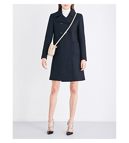 VALENTINO Double-breasted wool-blend coat (Black
