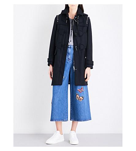 VALENTINO Rockstud wool-felt duffel coat (Black