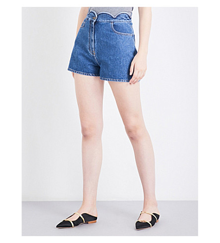 VALENTINO Scalloped high-rise stretch-denim shorts (Denim+blue