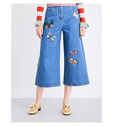 VALENTINO Butterfly-embroidered wide cropped high-rise jeans (Denim+blue