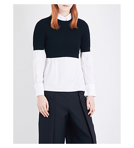 VALENTINO Cropped ribbed knitted top (Black