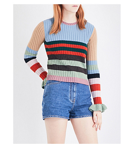 VALENTINO Striped knitted wool jumper (Multi